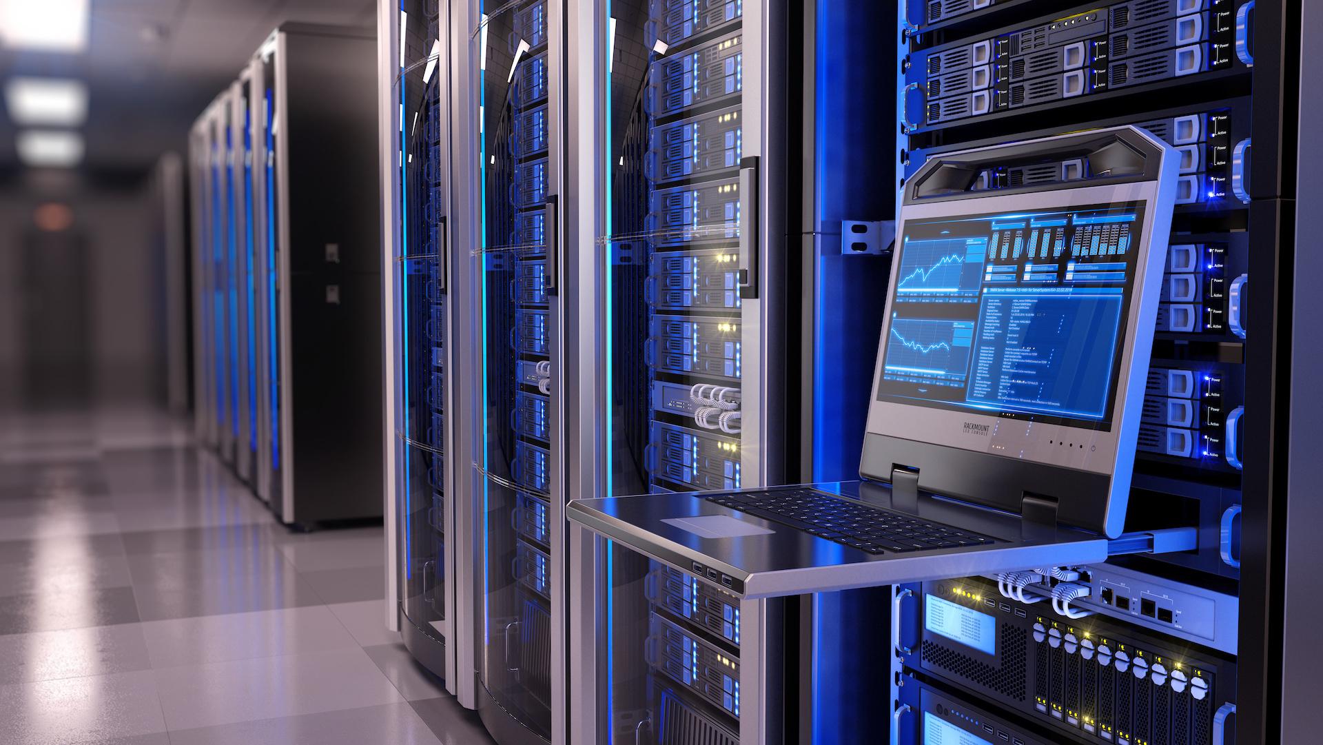 Rackmount LED console in server room data center - 3d illustration